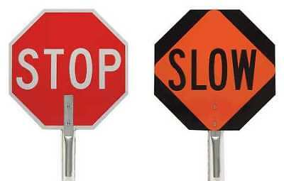 Traffic Control Paddle,Stop/Slow,18 In. BRADY 57754