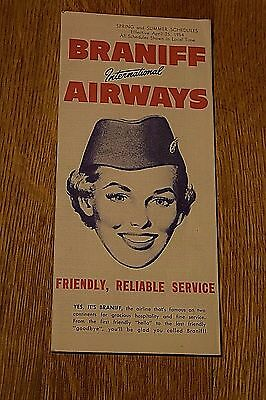 Vintage Braniff International Airways 1954 Spring and Summer Schedule Airline