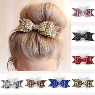 Sweet Women Girls Glitter Hairpin Bowknot Barrette Crystal Hair Clip Bow Gift TR
