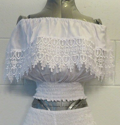 White Crop Top with Lace, On or Off the Shoulder, Peasant Top, Size 10-12