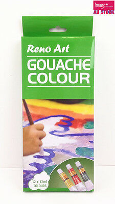 12 Tube 12ml Reno Art Gouache Colour Paint Set | Art Supplies Painting GC-1212S