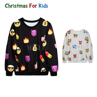 Boy Girls Sweatshirts Emoji Printed Top Jumpers Joggers Cotton Pants Sleepwear
