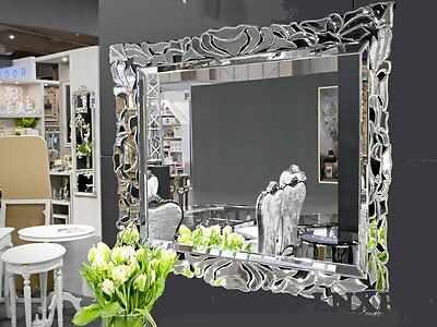 xxl design moderne miroir mural cadre 117x87 blanc en exclusivit woe eur 307 29 picclick fr. Black Bedroom Furniture Sets. Home Design Ideas