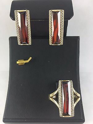 Turkish Handmade Jewelry 925 Sterling Silver Ruby Earrings & Ring Set Ring Sz 8