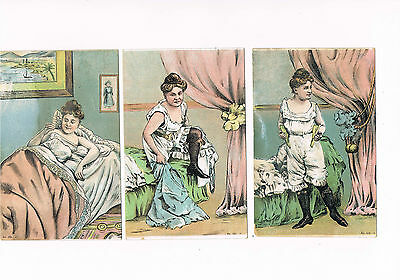 Three Victorian coloured 'slightly saucy' bedroom postcards.