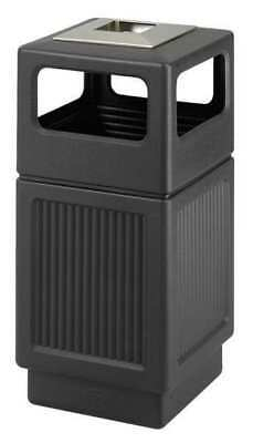 38 gal. Black Plastic Square Trash Can/ Ash Tray SAFCO 9477BL
