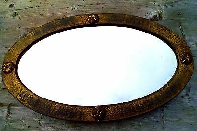 Beaten Copper Oval Wall Mirror, Arts and Crafts, Vintage, Art Deco Nouveau