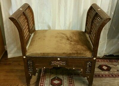 ANTIQUE C 20th century ISLAMIC /PERSIAN BENCH WITH MOTHER OF PEARL INLAY