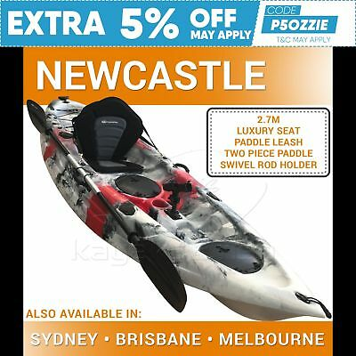 2.7M Fishing Kayak Sit on Top Single Canoe Seat Paddle Newcastle Red Grey New