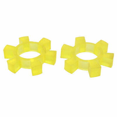 90mmx41mmx17mm Rubber 6 Teeth Spiders Coupling Coupler Dampers Yellow 2pcs