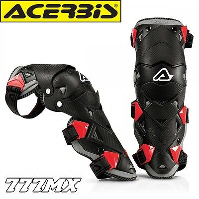 New Adult Acerbis Impact Evo 2.0 Hinged Knee Guards Motocross Enduro Atv Black