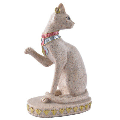 Sitting Ancient Egyptian Mau Cat Goddess Sandstone Statue Figurine Model
