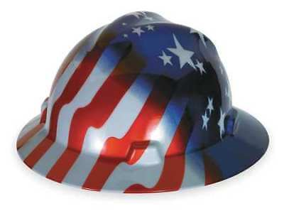 MSA 10071157 Hard Hat, FullBrim, USFlag Stars/Stripes
