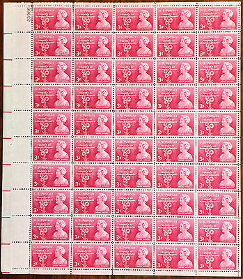 #977   Moina Mitchell.   MNH 3¢ sheet of 50.   Issued in 1948