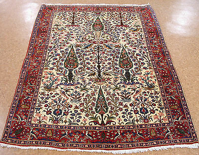 5 x 7 ANTIQUE PERSIAN ISFAHAN Hand Knotted Wool PICTORIAL Oriental ESTATE Rug