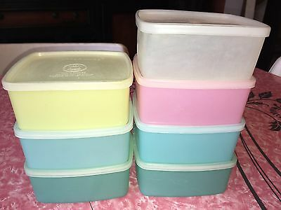 TUPPERWARE ~ Vtg Square Round Freezer Containers Pastel Blue Pink ~ 16 oz. Lot