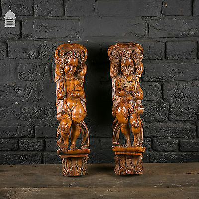 Pair of 17th C Carved Walnut Cherubs on Corbels
