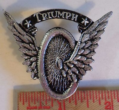 Vintage XL Triumph winged-wheel pin British motorcycle collectible biker pinback