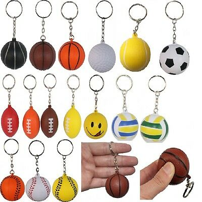 Basketball Volleyball Football Tennis Golf Ball Keychain Smile Face Ball Keyring