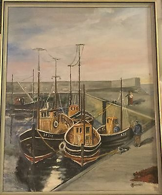 Acrylic/oil on Canvas board of an Harbour Scene by S Cotton