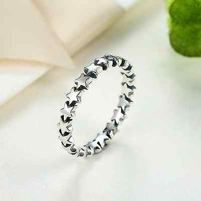 Sterling Silver 925 Star Design Stacking Band Ring   FREE UK Delivery