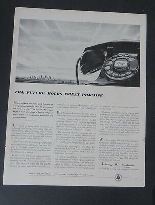 Original Print Ad 1949 BELL TELEPHONE SYSTEM Phone Future Holds Promise