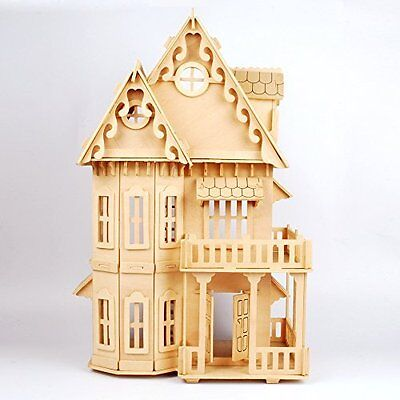 """17"""" Wooden Dream Dollhouse 6 Rooms Diy Kits Miniature Doll House Great For Gift"""