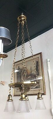 Vintage 1930 Deco Pan 4 Light Chandelier Completely Restored