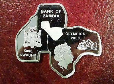 Zambia 5000 Kwacha 2000 Olympics ~ Km-115 ~Sterling Proof In Shape Of Australia
