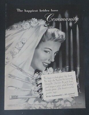 Fine Original Print Ad 1950 Community Silverplate Jon Whitcomb Artwork Christmas Advertising