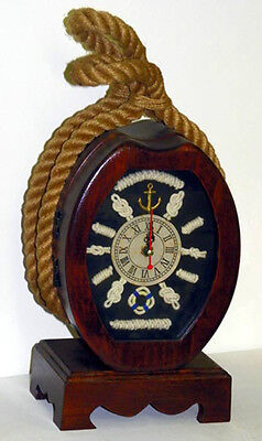 New Block/Tackle Solid Wood Pully Clock Knot Shadow Box ~Table Top Key Holder