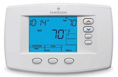 Emerson Thermostat, 7 Day Programmable, Stages 4 Heat/2 Cool, 1F95-0671