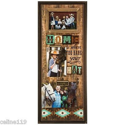 """PHOTO FRAME  WESTERN HOME WALL DECOR - """"Home Is Where You Hang Your Hat Collage"""""""