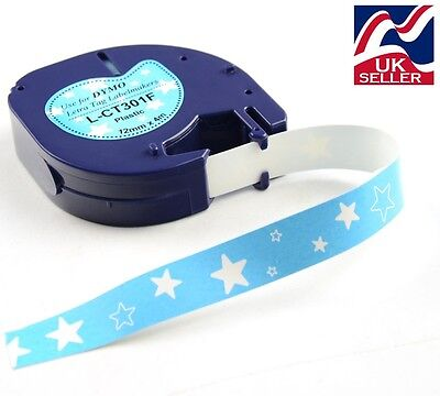 """1-50 x craft """"star"""" tape plastic 12mm x 4m for DYMO LETRATAG label makers"""