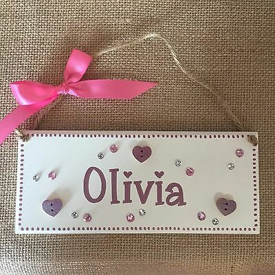 Personalised children's name bedroom door wall sign plaques for girls bling pink