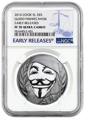 2016 Cook Islands Silver $5 - Guido Fawkes Mask - PF70 UC ER - NGC Coin - RARE !