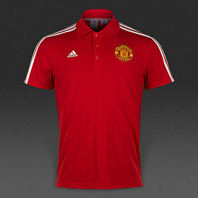 Manchester United adidas Polo Shirt Red Football Top Tee Small Mens Youth Boys