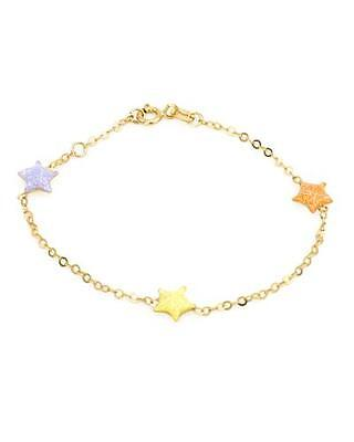 14K Solid Yellow Gold 3 Stars Chain Bracelet 5.9 Inches