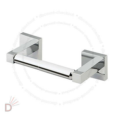 Wall Mounted Square Shine Chrome Finish Bathroom Bar Toilet Roll Holder UKDC