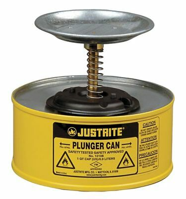 JUSTRITE 10118 Plunger Can, 1 qt., Steel, Yellow