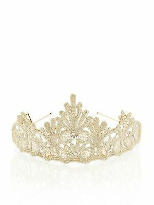 Girls Monsoon Lace Diamante Tiara Bidesmaid Wedding Party gold sparkle