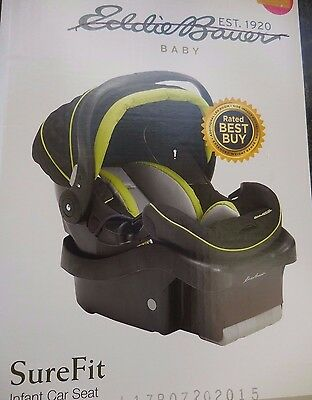 Eddie Bauer Infant Baby Car Seat with Base Surefit Sure Fit Green Black