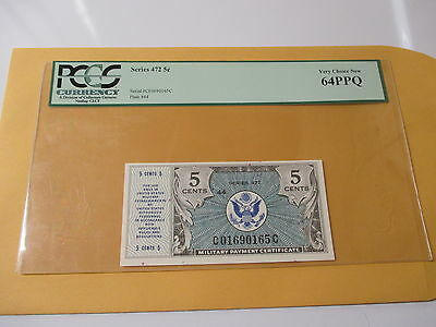 Series 472 Five Cent Military Certificate Pcgs 64Ppq