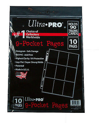 Ultra Pro 9 Pocket pages 10 pack, Free shipping, Clear Acid Free