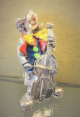 "4.7"" Silver Hand Painted Clown Figurine with Cello, Hallmarked Sterling Italy"
