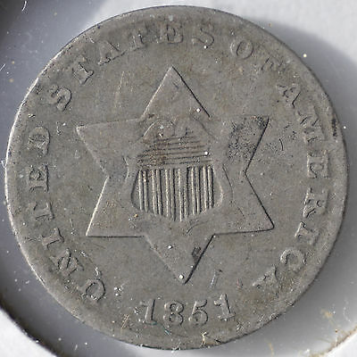 1851 3CS Three Cent Silver Type Coin First Year Circulated B2