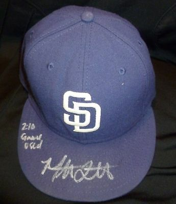 Mat Latos Signed 2010 Game Used Padres Hat PSA/DNA COA Auto San Diego Autograph