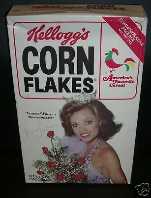Vanessa Williams Signed 1984 Miss America Corn Flakes Box PSA/DNA LOA Autograph