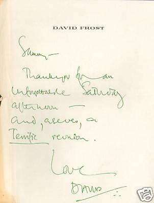 David Frost Hand Written Signed Personal Letter to Sammy Davis Jr PSA/DNA LOA