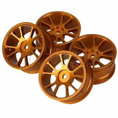 4 PCS Aluminum Alloy RC 1:10 Racing Car Gold Color Wheel Rims With 10-Spoke